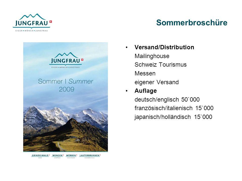 Sommerbroschüre Versand/Distribution Mailinghouse Schweiz Tourismus Messen eigener Versand Auflage deutsch/englisch 50`000 französisch/italienisch 15`000 japanisch/holländisch 15`000
