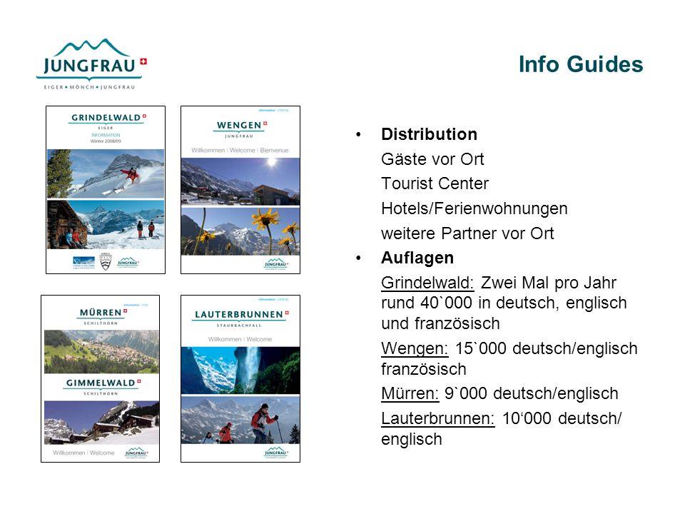 Info Guides Distribution Gäste vor Ort Tourist Center Hotels/Ferienwohnungen weitere Partner vor Ort Auflagen Grindelwald: Zwei Mal pro Jahr rund 40`0