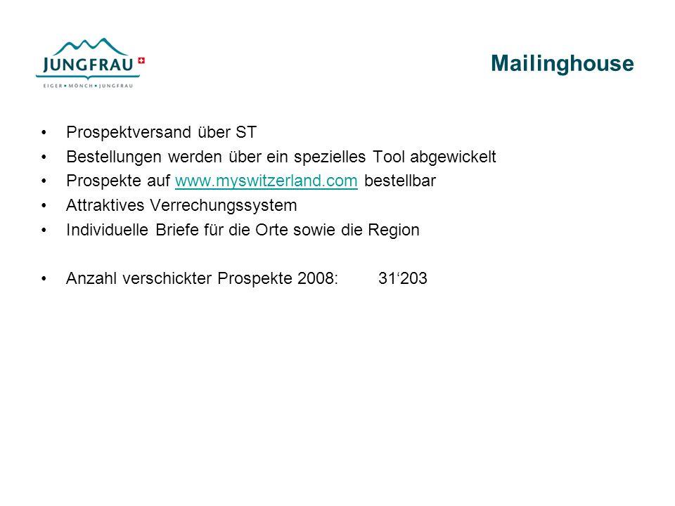Mailinghouse Prospektversand über ST Bestellungen werden über ein spezielles Tool abgewickelt Prospekte auf www.myswitzerland.com bestellbarwww.myswitzerland.com Attraktives Verrechungssystem Individuelle Briefe für die Orte sowie die Region Anzahl verschickter Prospekte 2008:31203