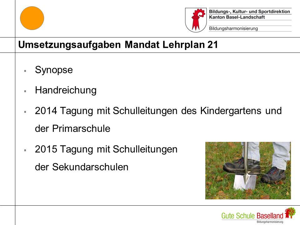 Umsetzungsaufgaben Mandat Lehrplan 21 Synopse Handreichung 2014 Tagung mit Schulleitungen des Kindergartens und der Primarschule 2015 Tagung mit Schul