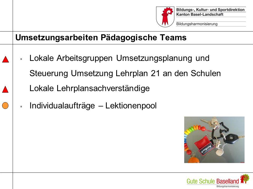 Umsetzungsarbeiten Pädagogische Teams Lokale Arbeitsgruppen Umsetzungsplanung und Steuerung Umsetzung Lehrplan 21 an den Schulen Lokale Lehrplansachve