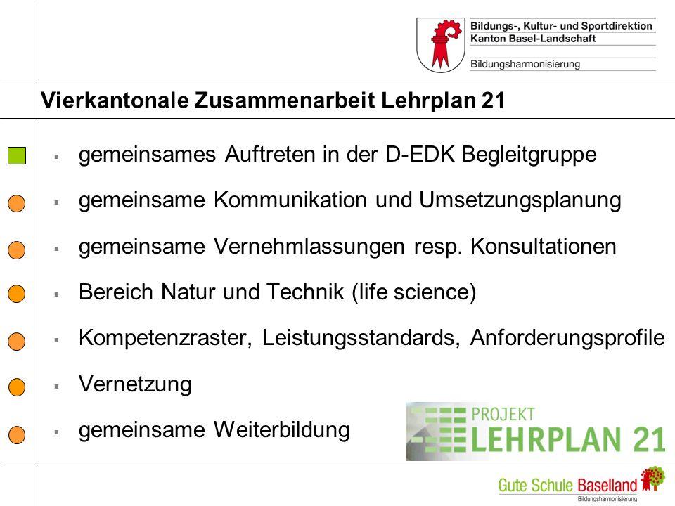 Vierkantonale Zusammenarbeit Lehrplan 21 gemeinsames Auftreten in der D-EDK Begleitgruppe gemeinsame Kommunikation und Umsetzungsplanung gemeinsame Ve