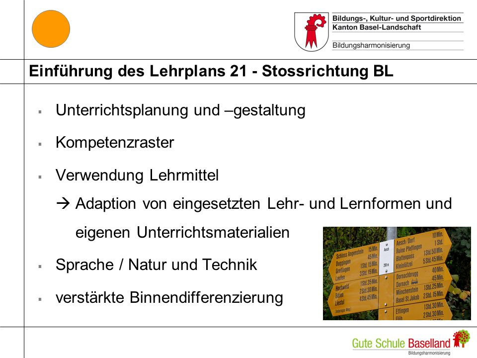 Einführung des Lehrplans 21 - Stossrichtung BL Unterrichtsplanung und –gestaltung Kompetenzraster Verwendung Lehrmittel Adaption von eingesetzten Lehr