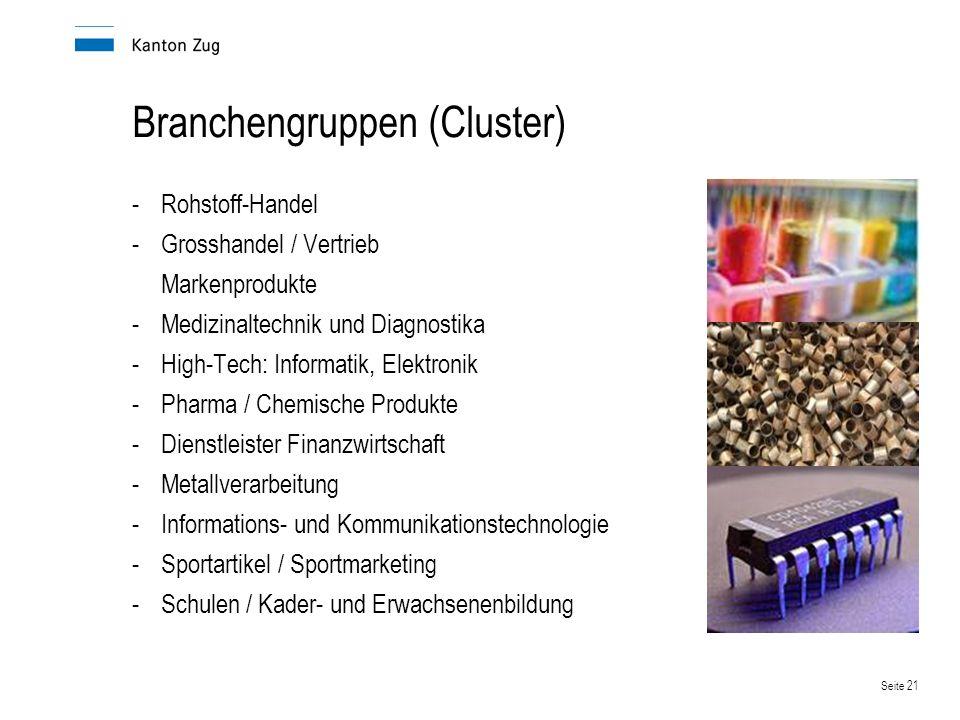 Seite 21 Branchengruppen (Cluster) -Rohstoff-Handel -Grosshandel / Vertrieb Markenprodukte -Medizinaltechnik und Diagnostika -High-Tech: Informatik, E