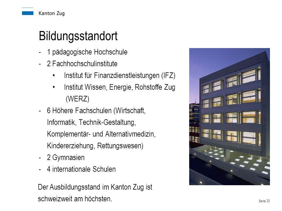 Seite 30 Bildungsstandort -1 pädagogische Hochschule -2 Fachhochschulinstitute Institut für Finanzdienstleistungen (IFZ) Institut Wissen, Energie, Roh