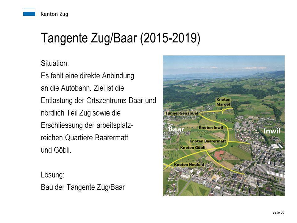 Seite 38 Tangente Zug/Baar (2015-2019) Situation: Es fehlt eine direkte Anbindung an die Autobahn. Ziel ist die Entlastung der Ortszentrums Baar und n