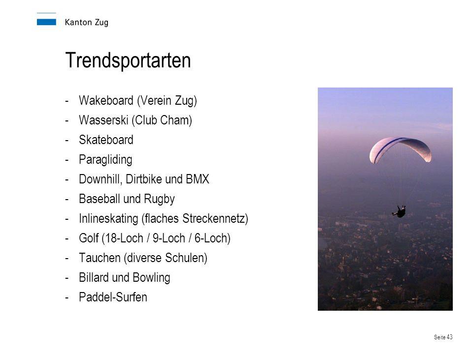 Seite 43 Trendsportarten -Wakeboard (Verein Zug) -Wasserski (Club Cham) -Skateboard -Paragliding -Downhill, Dirtbike und BMX -Baseball und Rugby -Inli