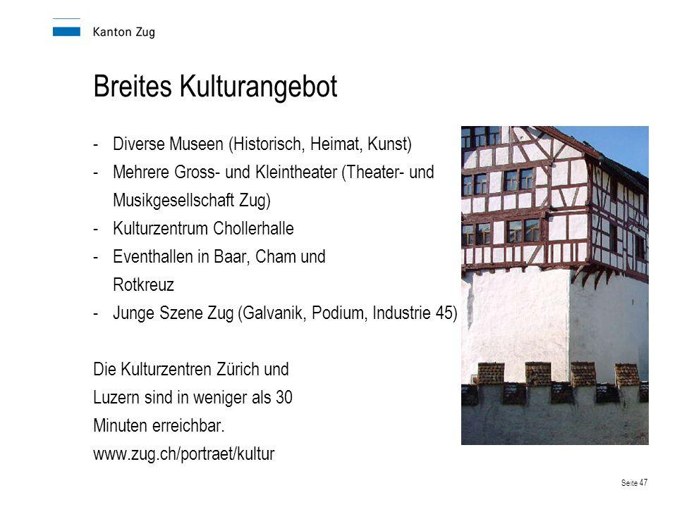 Seite 47 Breites Kulturangebot -Diverse Museen (Historisch, Heimat, Kunst) -Mehrere Gross- und Kleintheater (Theater- und Musikgesellschaft Zug) -Kult