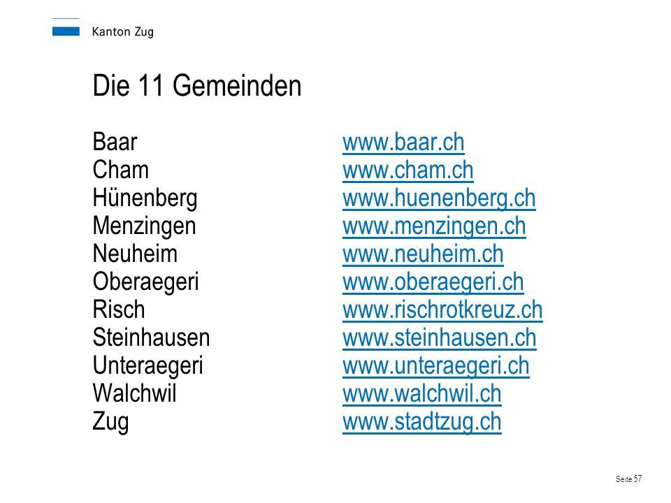 Seite 57 Die 11 Gemeinden Baarwww.baar.chwww.baar.ch Chamwww.cham.chwww.cham.ch Hünenbergwww.huenenberg.chwww.huenenberg.ch Menzingenwww.menzingen.chw