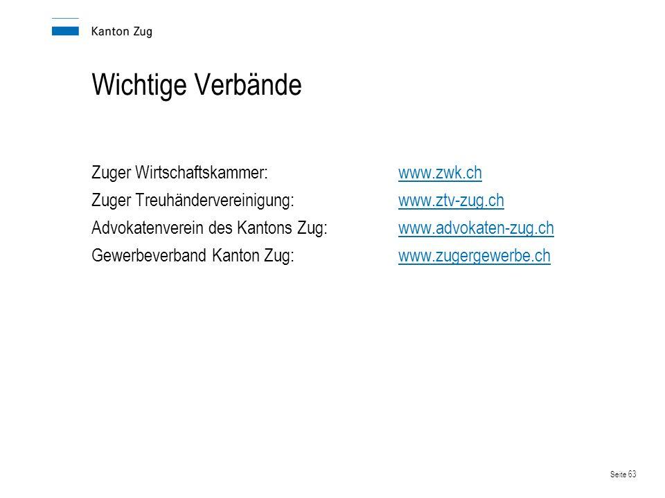 Seite 63 Wichtige Verbände Zuger Wirtschaftskammer:www.zwk.chwww.zwk.ch Zuger Treuhändervereinigung:www.ztv-zug.chwww.ztv-zug.ch Advokatenverein des K