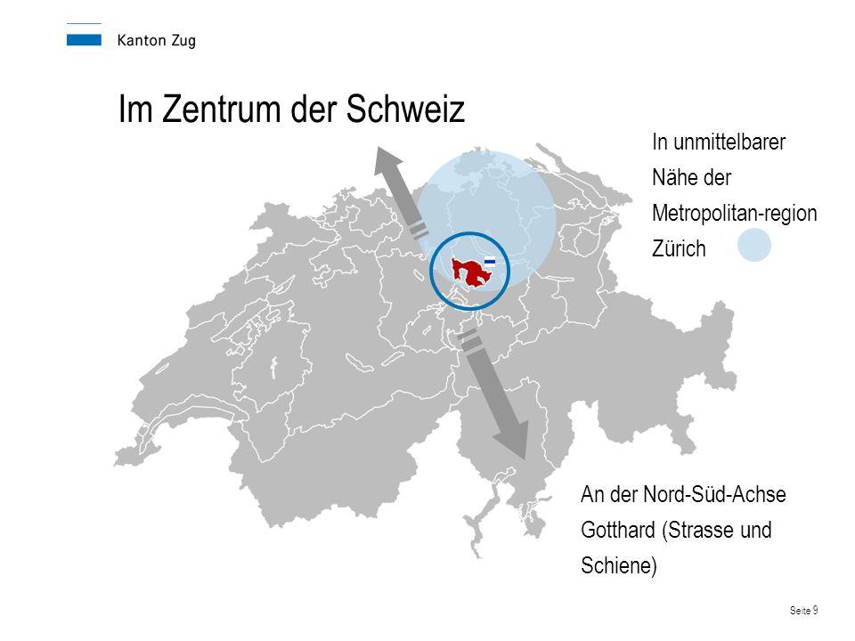 Seite 9 Im Zentrum der Schweiz An der Nord-Süd-Achse Gotthard (Strasse und Schiene) In unmittelbarer Nähe der Metropolitan-region Zürich