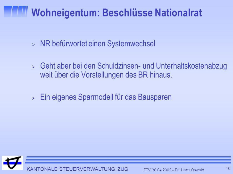 KANTONALE STEUERVERWALTUNG ZUG 10 ZTV 30.04.2002 - Dr. Hans Oswald Wohneigentum: Beschlüsse Nationalrat NR befürwortet einen Systemwechsel Geht aber b