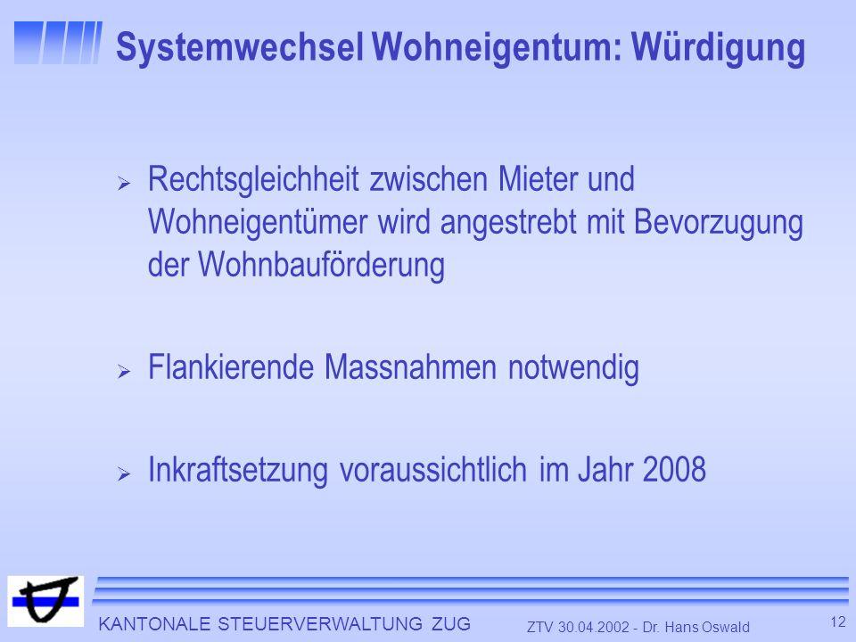 KANTONALE STEUERVERWALTUNG ZUG 12 ZTV 30.04.2002 - Dr. Hans Oswald Systemwechsel Wohneigentum: Würdigung Rechtsgleichheit zwischen Mieter und Wohneige