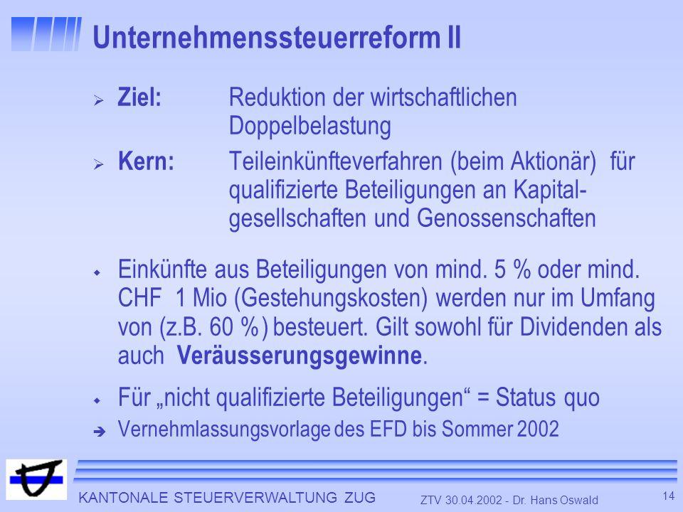 KANTONALE STEUERVERWALTUNG ZUG 14 ZTV 30.04.2002 - Dr. Hans Oswald Unternehmenssteuerreform II Ziel: Reduktion der wirtschaftlichen Doppelbelastung Ke