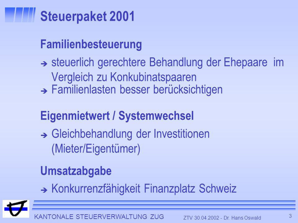 KANTONALE STEUERVERWALTUNG ZUG 3 ZTV 30.04.2002 - Dr. Hans Oswald Steuerpaket 2001 Familienbesteuerung steuerlich gerechtere Behandlung der Ehepaare i