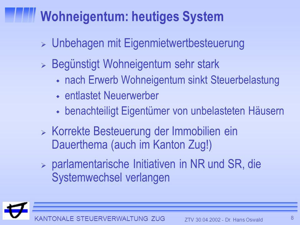KANTONALE STEUERVERWALTUNG ZUG 8 ZTV 30.04.2002 - Dr. Hans Oswald Wohneigentum: heutiges System Unbehagen mit Eigenmietwertbesteuerung Begünstigt Wohn
