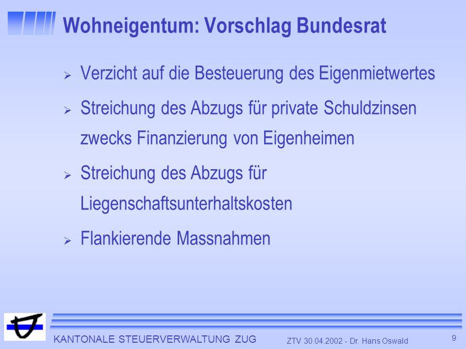 KANTONALE STEUERVERWALTUNG ZUG 9 ZTV 30.04.2002 - Dr. Hans Oswald Wohneigentum: Vorschlag Bundesrat Verzicht auf die Besteuerung des Eigenmietwertes S