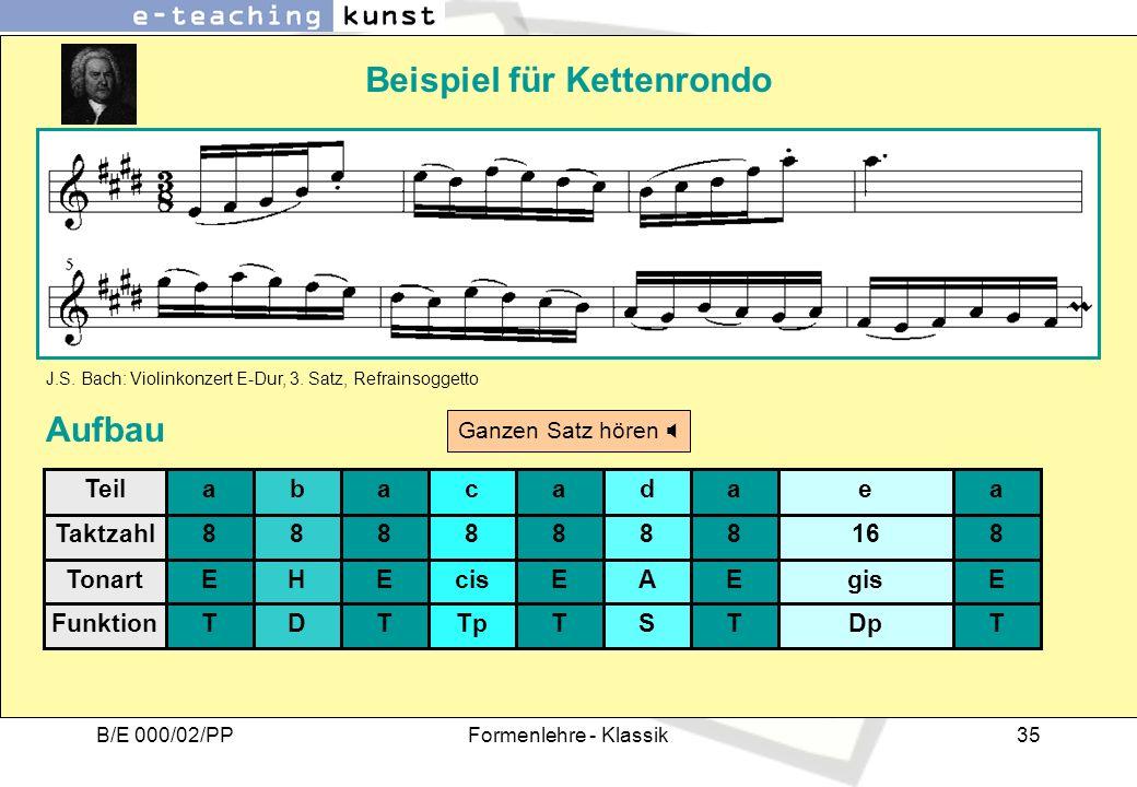 B/E 000/02/PPFormenlehre - Klassik35 Beispiel für Kettenrondo J.S. Bach: Violinkonzert E-Dur, 3. Satz, Refrainsoggetto Aufbau a 8 E T b 8 H D a 8 E T