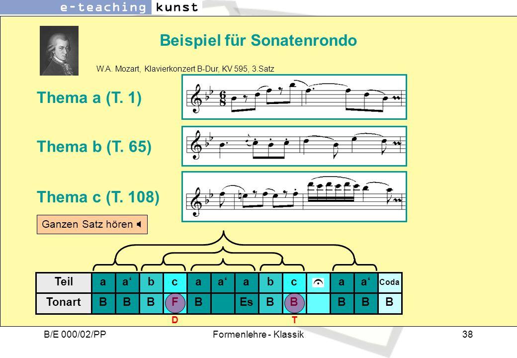 B/E 000/02/PPFormenlehre - Klassik38 Beispiel für Sonatenrondo W.A. Mozart, Klavierkonzert B-Dur, KV 595, 3.Satz Thema a (T. 1) Thema b (T. 65) Thema