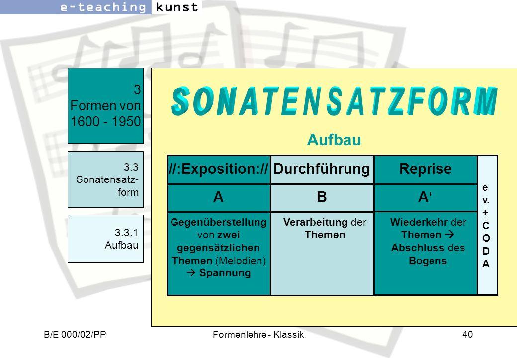 B/E 000/02/PPFormenlehre - Klassik40 3 Formen von 1600 - 1950 3.3 Sonatensatz- form 3.3.1 Aufbau Aufbau Durchführung//:Exposition://Reprise BAA Verarb