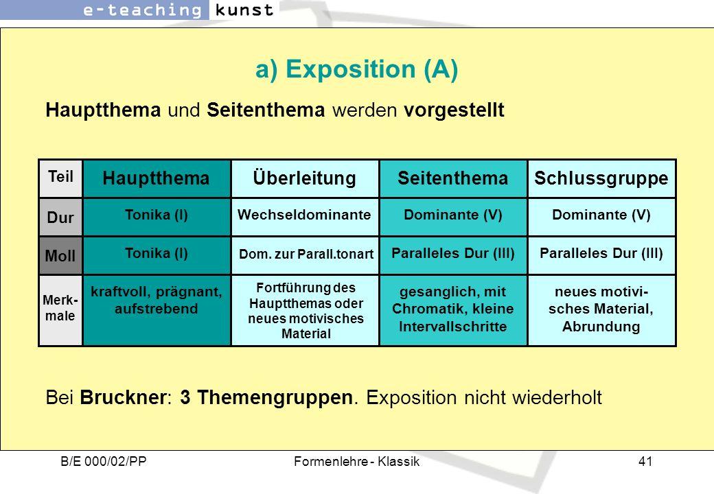 B/E 000/02/PPFormenlehre - Klassik41 a) Exposition (A) Hauptthema und Seitenthema werden vorgestellt Hauptthema Teil Dur Moll ÜberleitungSeitenthemaSc