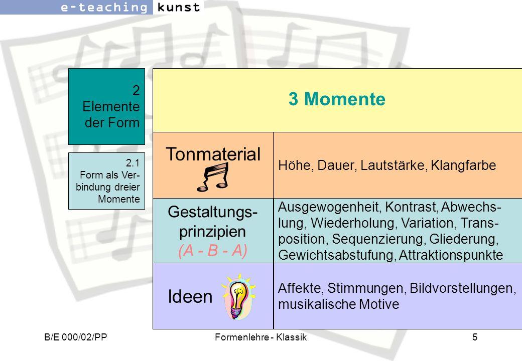 B/E 000/02/PPFormenlehre - Klassik5 2 Elemente der Form 2.1 Form als Ver- bindung dreier Momente Gestaltungs- prinzipien (A - B - A) Ausgewogenheit, K