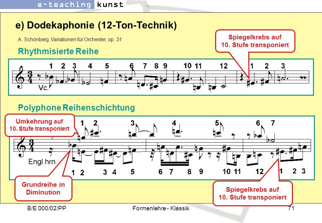 B/E 000/02/PPFormenlehre - Klassik71 e) Dodekaphonie (12-Ton-Technik) A. Schönberg, Variationen für Orchester, op. 31 Rhythmisierte Reihe Polyphone Re