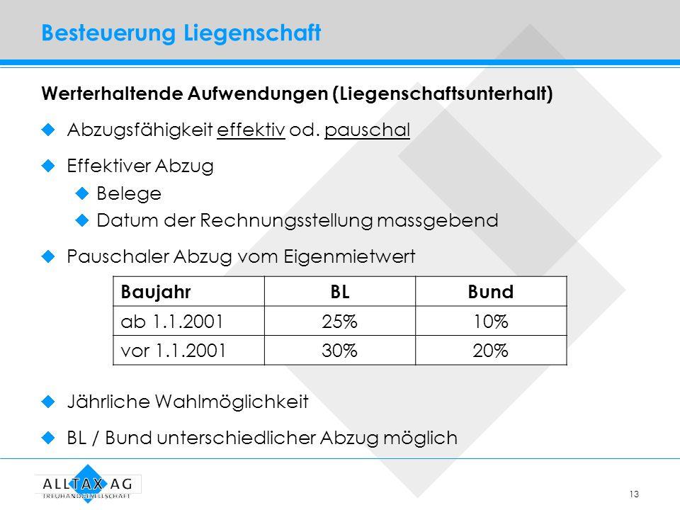 13 Besteuerung Liegenschaft Werterhaltende Aufwendungen (Liegenschaftsunterhalt) Abzugsfähigkeit effektiv od. pauschal Effektiver Abzug Belege Datum d