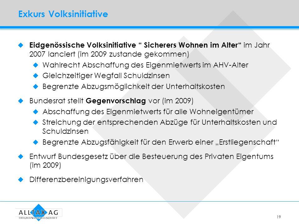 19 Exkurs Volksinitiative Eidgenössische Volksinitiative Sicherers Wohnen im Alter im Jahr 2007 lanciert (im 2009 zustande gekommen) Wahlrecht Abschaf