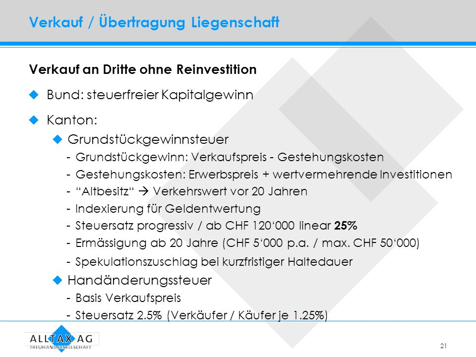 21 Verkauf / Übertragung Liegenschaft Verkauf an Dritte ohne Reinvestition Bund: steuerfreier Kapitalgewinn Kanton: Grundstückgewinnsteuer -Grundstück