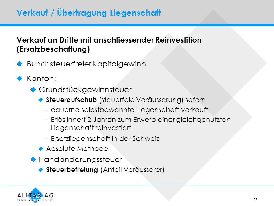 23 Verkauf / Übertragung Liegenschaft Verkauf an Dritte mit anschliessender Reinvestition (Ersatzbeschaffung) Bund: steuerfreier Kapitalgewinn Kanton: