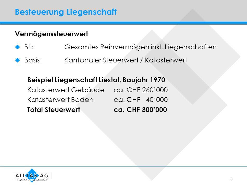 5 Besteuerung Liegenschaft Vermögenssteuerwert BL: Gesamtes Reinvermögen inkl. Liegenschaften Basis:Kantonaler Steuerwert / Katasterwert Beispiel Lieg