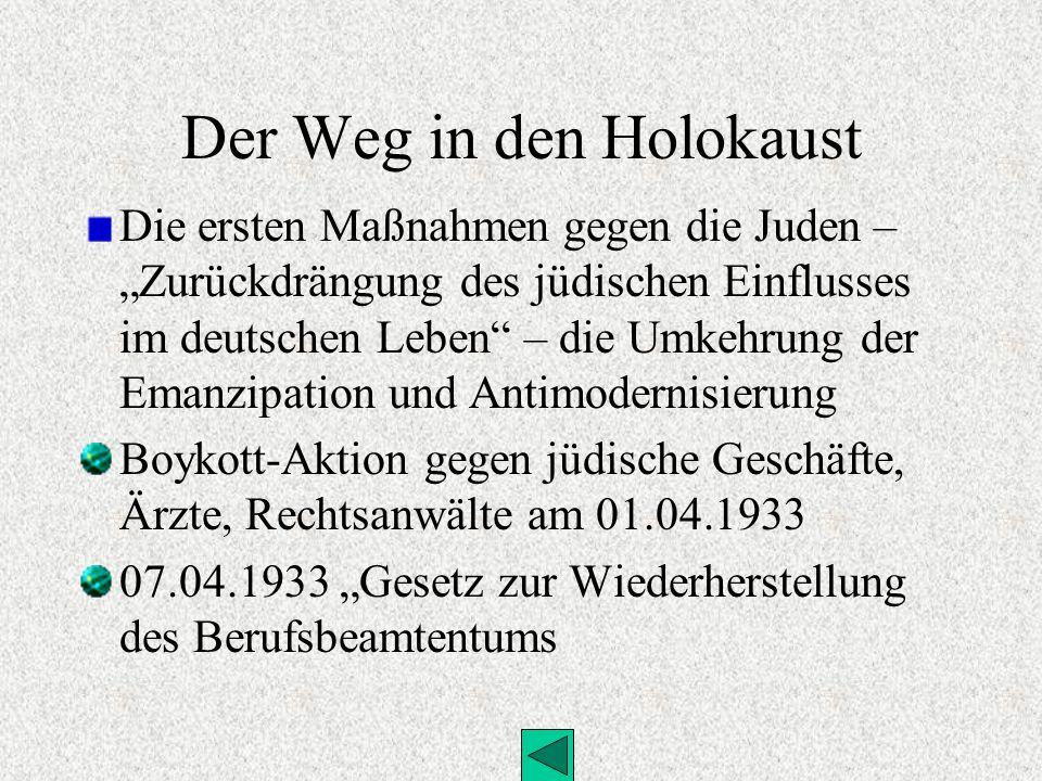 Der Weg in den Holokaust Die ersten Maßnahmen gegen die Juden – Zurückdrängung des jüdischen Einflusses im deutschen Leben – die Umkehrung der Emanzip