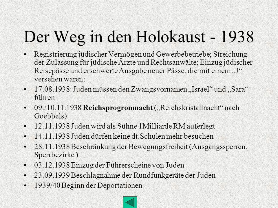 Der Weg in den Holokaust 01.09.1941 Verordnung über die Kennzeichnung der Juden (Judensternverordnung) 01.10.1941 Emigrationsverbot 25.11.1941 Verordnung betr.