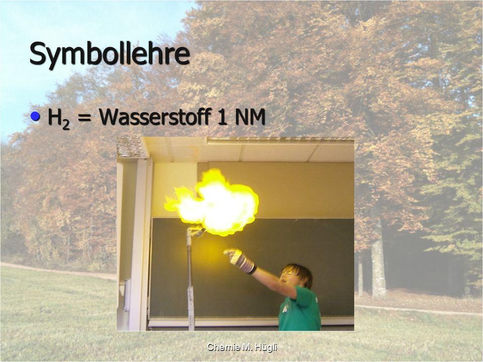 Chemie M. Hügli Symbollehre H 2 = Wasserstoff 1 NM H 2 = Wasserstoff 1 NM