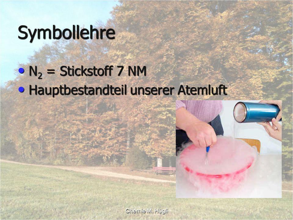 Chemie M. Hügli Symbollehre N 2 = Stickstoff 7 NM N 2 = Stickstoff 7 NM Hauptbestandteil unserer Atemluft Hauptbestandteil unserer Atemluft
