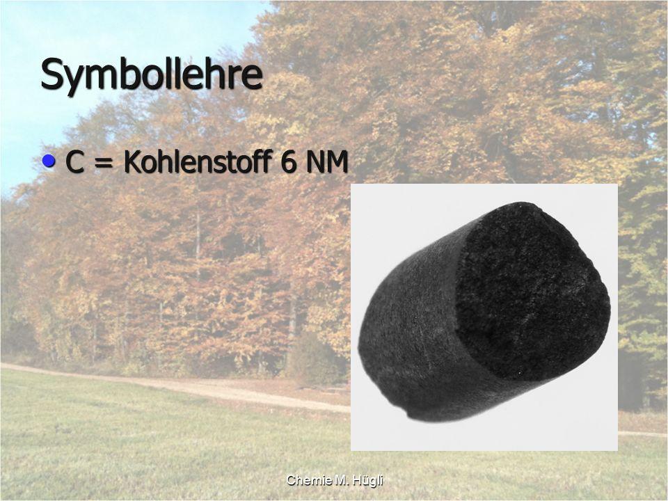 Chemie M. Hügli Symbollehre C = Kohlenstoff 6 NM C = Kohlenstoff 6 NM