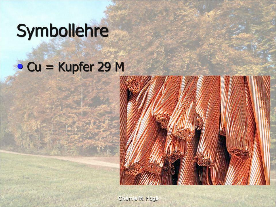 Chemie M. Hügli Symbollehre Cu = Kupfer 29 M Cu = Kupfer 29 M