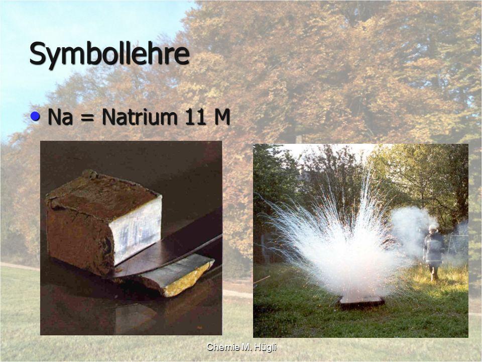 Chemie M. Hügli Symbollehre Na = Natrium 11 M Na = Natrium 11 M