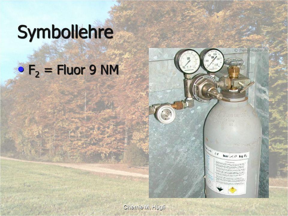 Chemie M. Hügli Symbollehre F 2 = Fluor 9 NM F 2 = Fluor 9 NM