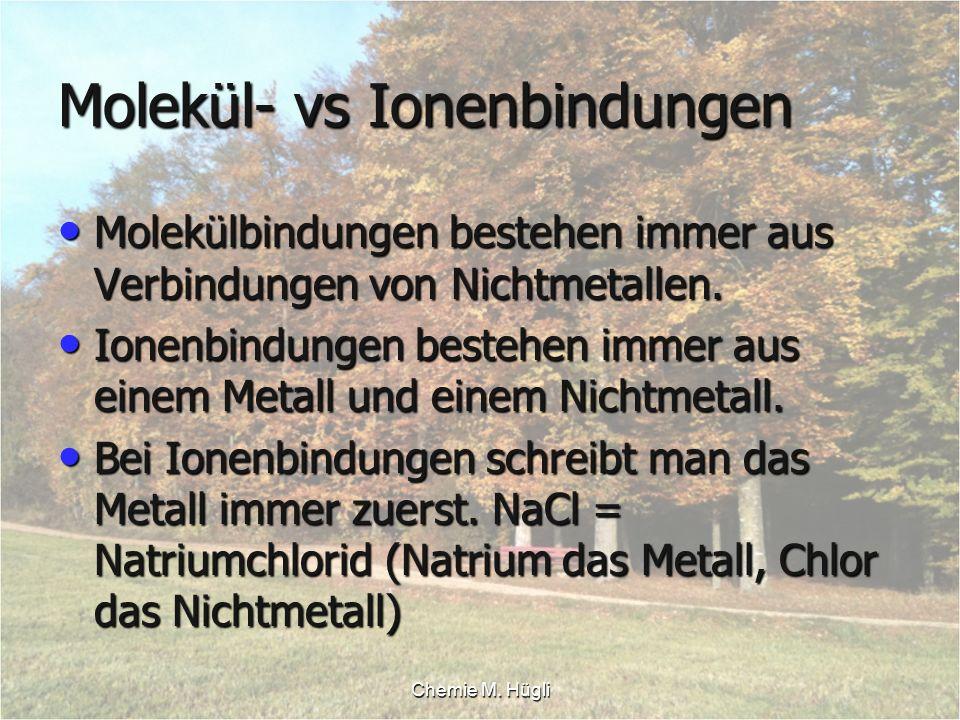 Chemie M. Hügli Molekül- vs Ionenbindungen Molekülbindungen bestehen immer aus Verbindungen von Nichtmetallen. Molekülbindungen bestehen immer aus Ver