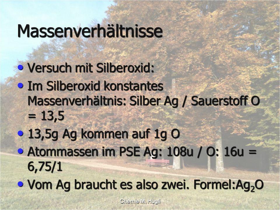 Chemie M. Hügli Massenverhältnisse Versuch mit Silberoxid: Versuch mit Silberoxid: Im Silberoxid konstantes Massenverhältnis: Silber Ag / Sauerstoff O