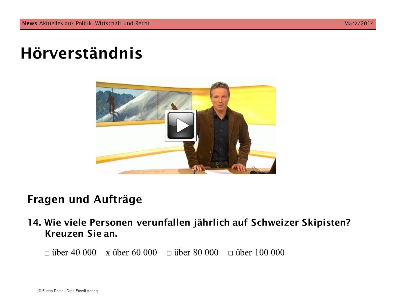 © Fuchs-Reihe, Orell Füssli Verlag Hörverständnis News Aktuelles aus Politik, Wirtschaft und Recht März/2014 Fragen und Aufträge 14.