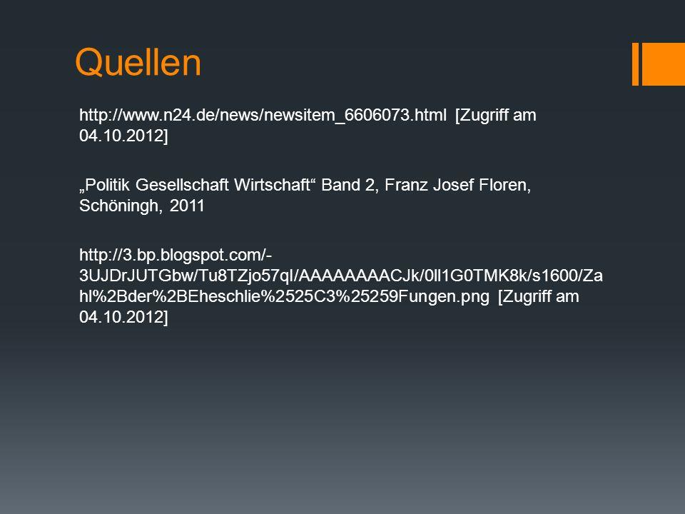 Quellen http://www.n24.de/news/newsitem_6606073.html [Zugriff am 04.10.2012] Politik Gesellschaft Wirtschaft Band 2, Franz Josef Floren, Schöningh, 20