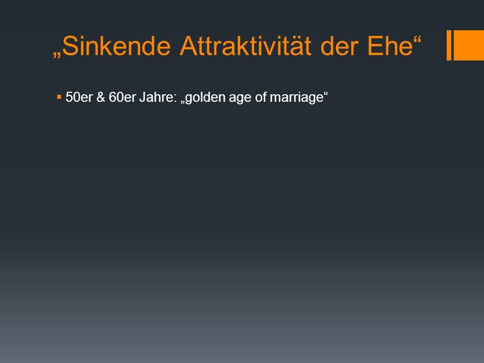 Sinkende Attraktivität der Ehe 50er & 60er Jahre: golden age of marriage