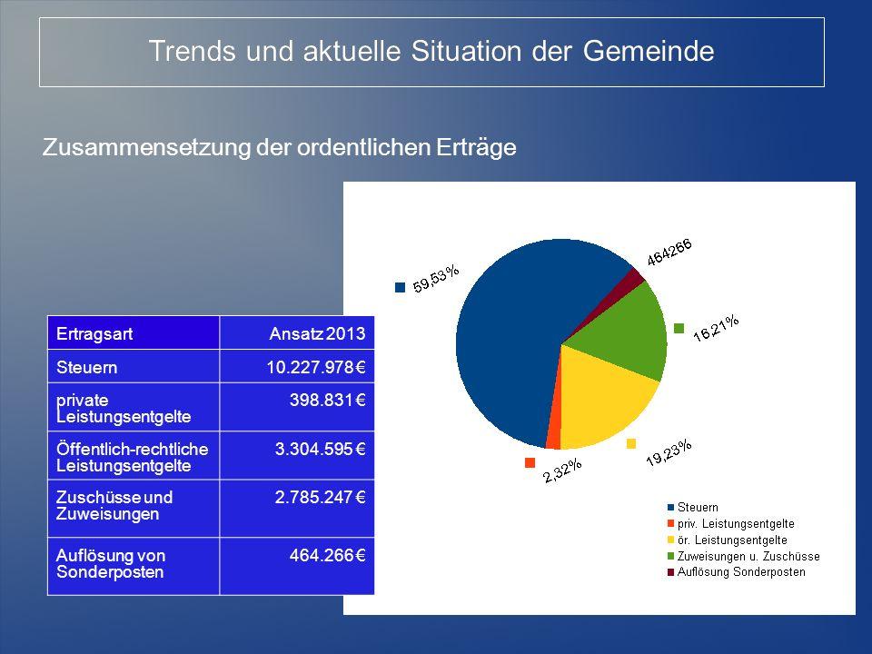 7 Zusammensetzung der ordentlichen Erträge Trends und aktuelle Situation der Gemeinde ErtragsartAnsatz 2013 Steuern10.227.978 private Leistungsentgelt