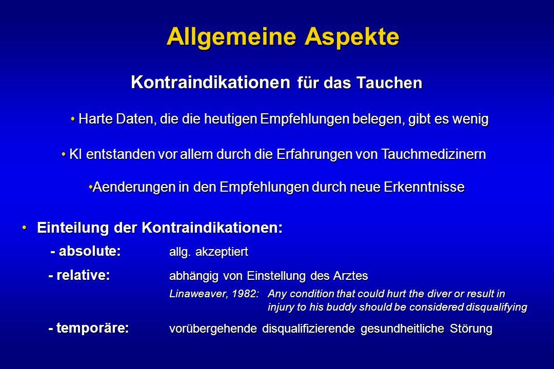 Einteilung der Kontraindikationen:Einteilung der Kontraindikationen: - absolute: allg. akzeptiert - absolute: allg. akzeptiert - relative: abhängig vo