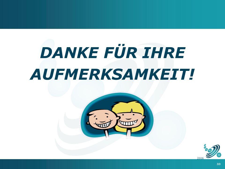 33 2006 DANKE FÜR IHRE AUFMERKSAMKEIT!