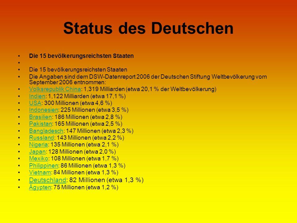 Status des Deutschen Die 15 bevölkerungsreichsten Staaten Die 15 bevölkerungsreichsten Staaten Die Angaben sind dem DSW-Datenreport 2006 der Deutschen