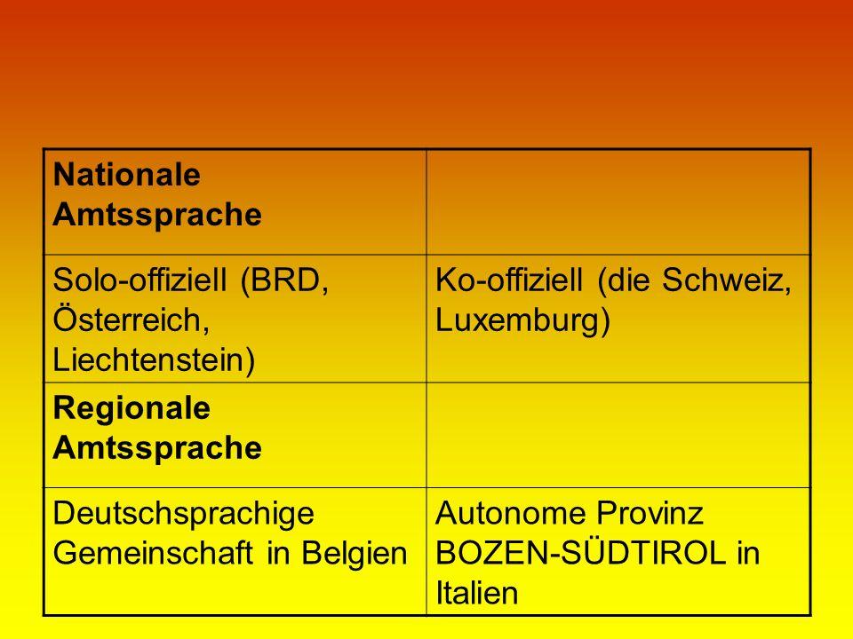 Nationale Amtssprache Solo-offiziell (BRD, Österreich, Liechtenstein) Ko-offiziell (die Schweiz, Luxemburg) Regionale Amtssprache Deutschsprachige Gem